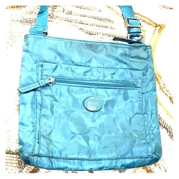 Coach Handbags - 💕 Coach bluish green medium fabric crossbody 💕